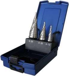 3-tlg. HSS-Co Stufenbohrer-Satz STANDARD, 4-12/1mm 4-20/2mm 6-30/2mm, spiral genutet