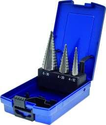 3-tlg. HSS-Co Stufenbohrer-Satz STANDARD, 4-12/1mm 4-20/2mm 6-30/2mm, gerade genutet