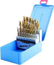 25-tlg. Spiralbohrer Satz HSS-TIN DIN 338 in Metallkassette BLAU 1-13 x 0,5 mm