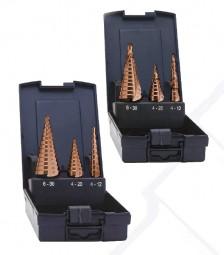 3-tlg. Stufenbohrersatz HSSE, cobalt, 4 - 12 x 1 mm, 4 - 20 x 2 mm, 6 - 30 x 2 mm