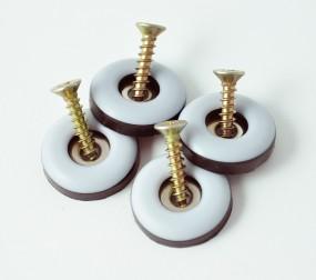 4er Set Teflongleiter Teflon - Möbelgleiter Stuhlgleiter rund, mit Schrauben, Durchmesser: 22 mm