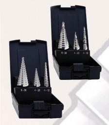 3-tlg. Stufenbohrersatz HSS, blank, 4 - 12 x 1 mm, 4 - 20 x 2 mm, 6 - 30 x 2 mm