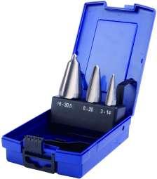 3-tlg. Satz HSS-Co-STANDARD-Blechschälbohrer, Cobalt legiert, 3-14, 8-20 und 16-30,5 mm