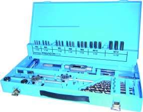 46-tlg. Gewindeschneidsatz DIN 352, HSSG, M3 - M12, im Metallkoffer