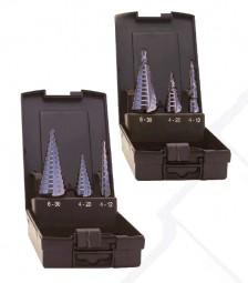 3-tlg. Stufenbohrersatz HSSE, cobalt, TIALN, 4 - 12 x 1 mm, 4 - 20 x 2 mm, 6 - 30 x 2 mm